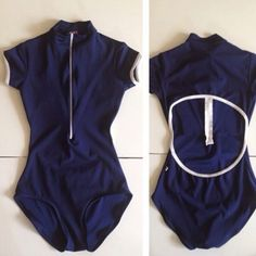 Style: Charlotte with cap sleeves nylon dark blue with white trim and zipper