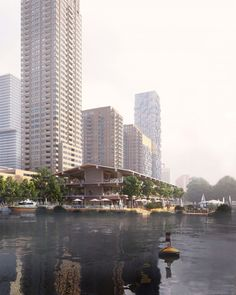 powerhouse plans floating, all-timber office building for rotterdam port Cultural Architecture, Education Architecture, Residential Architecture, Facade Architecture, Floating Architecture, Timber Structure, Building Structure, Rotterdam Port, Sea Level Rise