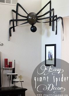 Decorate your home for Halloween with dollar store spiders and cobwebs. Get best DIY Spider Halloween decoration ideas which are easy to do & surely scary. Halloween Mignon, Soirée Halloween, Adornos Halloween, Manualidades Halloween, Halloween Party Decor, Homemade Halloween, Halloween Spider Decorations, Halloween Ornaments, Fall Decorations