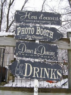 Vintage WEDDING SIGN PACKAGE, 4 Signs, 5 Foot Stake Included, Shabby Chic Wedding, Distressed Black, Modern Shabby, Gothic Vintage. $160.00, via Etsy.