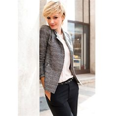 Tweed Fitted Jacket with Asymmetric Fastening and Zip Cuffs