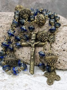 St Michael Fatima Sorrowful Mother Handcrafted Blue Czech Fire polished Beads Rosary bronze tone