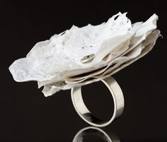 Ring    Cynthia Del Giudice.  Fused plastic (grocery bags) and silver