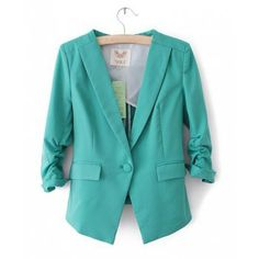 Sophisticated Lapel Collar Candy Color One-Button Pleated Long Sleeves Asymmetrical Hem Blazer For Women, GREEN, M in Blazers | DressLily.com