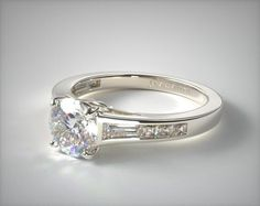 14K White Gold Tapered Baguette and Princess Engagement Ring | A classic tailored graduated channel set engagement ring features tapered baguettes and princess diamonds. Hand crafted to perfectly compliment the center stone of your choice. | Ring Style 17186W14 on JamesAllen.com. Click to view this ring in 360° HD.