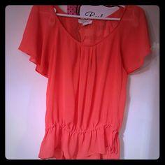 Orange sheer top Cute little sheer top. Ties at waist. Forever 21 Tops Blouses