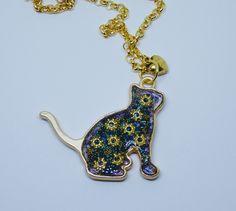 cat pendant, cat jewelry