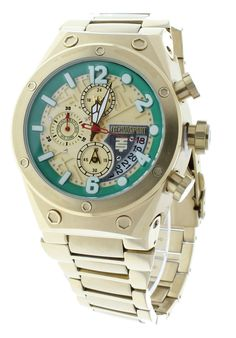 41293a7133b Technosport TS-820-7 Men s Gold-Tone Stainless Steel Watch Swiss Chronograph  24-Hour Subdial