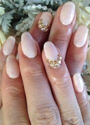 white nails with diamante detail bridal nail art