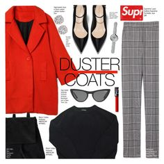"""Red Duster Coat"" by voguefashion101 ❤ liked on Polyvore featuring Boo, American Apparel, Alexander Wang, Louis Vuitton, Links of London and Victoria, Victoria Beckham"