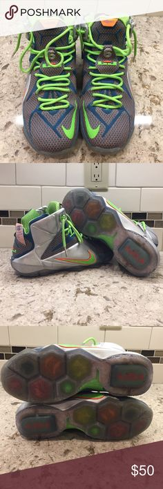 Nike Lebron 12 Trillion Dollar Man sneakers Gently worn Men's size 10.5 showing minor wear on the outside silver detail of the sneaker. Nike Shoes Athletic Shoes