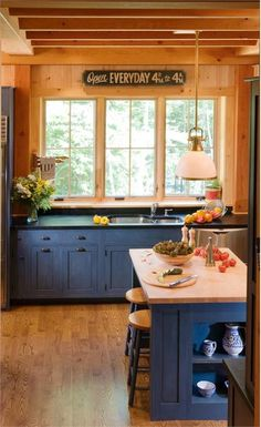 Blue Country Kitchen by Crown Point Cabinetry on HomePortfolio