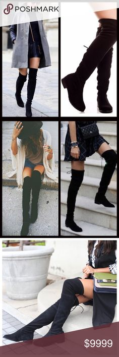 COMING SOON‼️ Vegan Suede Over the Knee Low Heel Coming next week! Over the knee boot with short heel! Ties at top. Form fitted. Price firm unless bundled. Shoes Over the Knee Boots