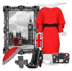 """""""London calling"""" by aspinall-moira ❤ liked on Polyvore featuring ShedRain, Alice + Olivia, Christian Louboutin, RED Valentino and Casetify"""