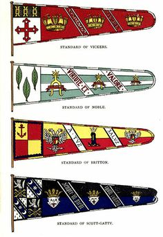 """File:Complete Guide to Heraldry Plate8.jpg Plate 8. Text: """"With the recent revival of the granting of badges the standard has again been brought into use as the vehicle to carry the badge."""" Standard of Vickers. The author is unable to explain the Naval Crown badge.  Standard of Noble.  Standard of Britton. The badge is a double-headed eagle displayed ermine, holding in its claws an escutcheon of their arms.  Standard of Scott-Gatty."""