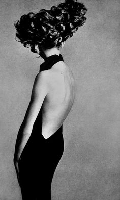 Jean Shrimpton in an evening dress by Galitzine. Hair by Alexandre. Shot in Paris studio by Richard Avedon,1965.