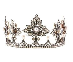 A diamond and pearl strawberry leaf tiara, the strawberry leaf motifs detach and can be used as brooches or clips