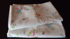 Vintage Pair Pillowcases Pink Red Blue Yellow by merrygogirl, i can do a thriw pikkow with it