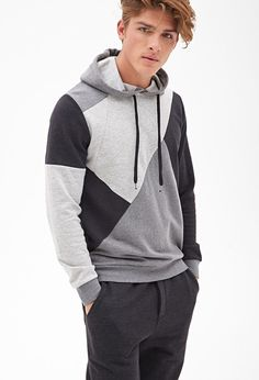 Colorblocked Geo Hoodie | 21 MEN - 2000102667