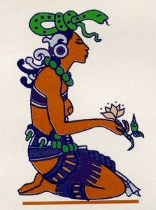 Ix Chel, in her maiden form, with spring flower and snake headdress. A goddess of fertility, midwifing, weaving and the moon.