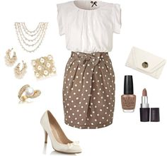 """Tan Polka Dot"" by in2song on Polyvore"