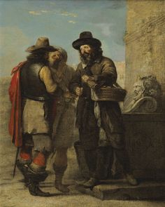 Two farmers and a soldier, ca. 1640's by Alexandre Montallier
