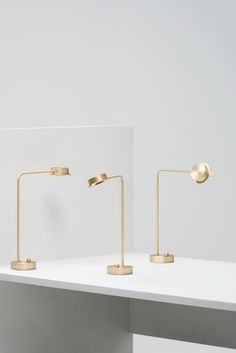 This lamp references an archetypal personal desk lamp for home or office use, and seeks to offer a fresh interpretation of the familiar on a domestic scale. The lamp is predominantly made from brass –