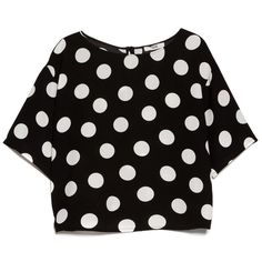 MANGO Polka-Dot Print Blouse ($22) ❤ liked on Polyvore featuring tops, blouses, shirts, crop tops, t-shirts, embellished crop top, black polka dot shirt, keyhole shirt, black blouse and black short sleeve blouse