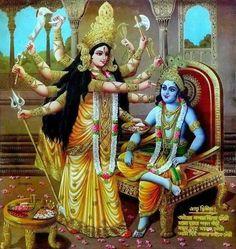 Hindu Cosmos — Krishna and Durga India Bengal gilt poster. Shiva Hindu, Durga Puja, Shiva Shakti, Hindu Deities, Hindu Art, Durga Images, Krishna Images, Shree Krishna, Krishna Art