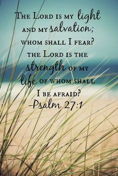 Yahweh is my light and my salvation. Whom shall I fear? Yahweh is the strength of my life. Of whom shall I be afraid? -- Psalm 27:1