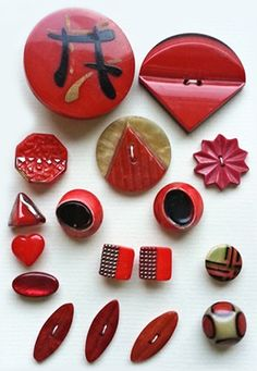 Vintage Red and Black Art Deco Buttons