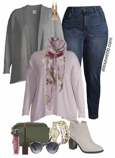 Plus Size Work-from-Home Outfit with Zoom appropriate scarf. t-shirt, and cardigan. Plus, jeans and booties for running errands. Alexa Webb #plussize #alexawebb Plus Size Work, Plus Size Fall, Casual Fall Outfits, Work Outfits, Brown Eyed Girls, Home Outfit, Plus Size Fashion For Women, Curvy Fashion, Plus Size Outfits