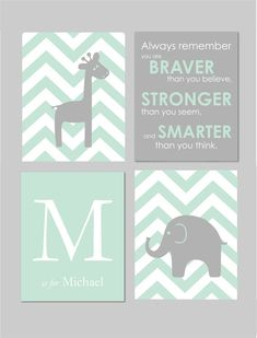 Mint and Grey Nursery Elephant Nursery Winnie the Pooh Quote Always Remember You…