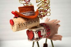 Rhinestone Cowgirl Wine Cork Reindeer Ornament by TheCorkForest