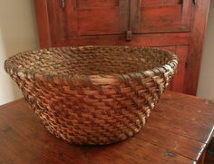19th Century Large Lancaster County, Pennsylvania Rye Basket. It's large and deep with the most wonderful dark patina. It is likely of southeastern, Pennsylvania German origin. Rye baskets were a staple and had many home uses like holding household items, raising bread dough, holding fruit and vegetables. This one because of it's large size might also have been used to hold feathers that were used for their mattresses. Measures 15 inches wide and about 7-1/2 inches deep.
