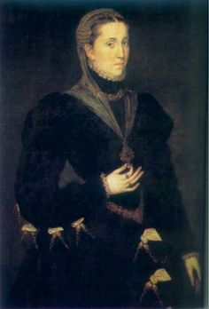 María Manuela de Portugal, first wife of Felipe II, by Juan Pantoja de la Cruz.  She was her husband's cousin. Her parents were Juan III de Portugal and Catalina de Austria, sister to Carlos V.
