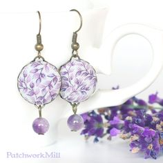 Lavender Dangle Earrings, Fabric Button Jewelry, Purple Flowers, Amethyst Beads, Vintage Style Jewelry by PatchworkMill #earrings #lavender #vintage #fabric #buttons