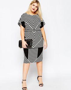 Plus Size Dress in Chevron Stripe
