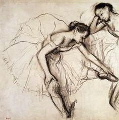 Two Dancers Resting Drawing  - Two Dancers Resting Fine Art Print - Edgar Degas