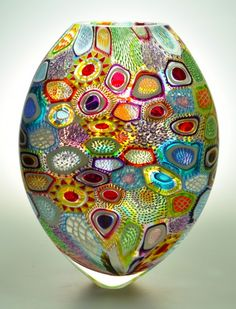 "Murrine glass piece - ""Arcobaleni Sole"" - Tall, Flattened."