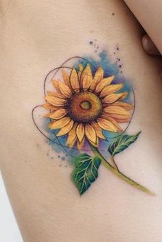 ★ A lot of beautiful designs for women. Here you will find not only simple, minimalistic or small watercolor sunflower tattoo ideas, but also more complicated ones with the meaning. Different Interpretations of a Sunflower Tattoo Watercolor Sunflower Tattoo, Sunflower Tattoo Sleeve, Sunflower Tattoo Shoulder, Sunflower Tattoo Small, Sunflower Tattoos, Sunflower Tattoo Design, Watercolor Tattoo, Sunflower Tattoo Meaning, Side Tattoos