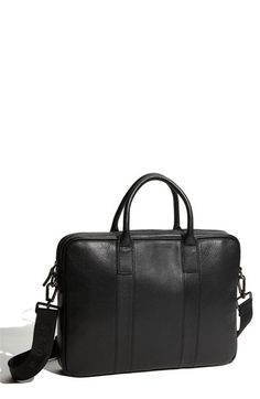 BOSS Black Pebbled Leather Top Zip Briefcase available at #Nordstrom
