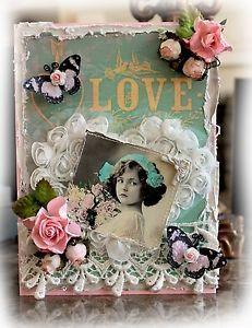 ELITE4U Reneabouquets Vintage Love Valentine's Day Blank Card Premade Scrapbook   eBay