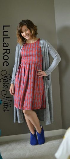 LulaRoe Amelia dress with long Sarah cardigan and booties Fall Fashion Style Trends https://www.facebook.com/groups/LularoeKaraMiller/