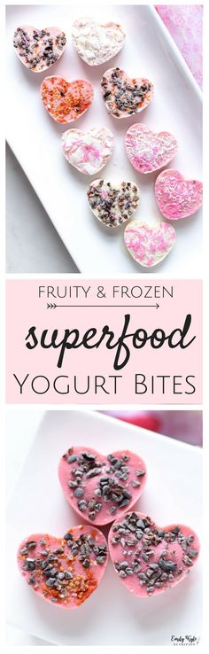 Throw just six simple ingredients into a blender to make your very own Fruity Frozen Yogurt Bites which are high in protein, packed with nutrients, and most importantly, deliciously refreshing and toddler approved. via Emily Kyle Nutrition Healthy Appetizers, Healthy Dessert Recipes, Healthy Baking, Healthy Treats, Baby Food Recipes, Healthy Deserts, Frozen Desserts, Frozen Treats, Frozen Yogurt Bites
