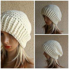 SLOUCHY HATS WOMEN MERINO WOOL CREAM WINTER CROCHET LADIES CASUAL SKULL CAP  HATS  Handmade   78d8efdcc90b