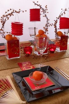 chinese new year black and red tablescape