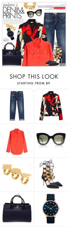 """""""Printed Outfit"""" by stylemeup-649 ❤ liked on Polyvore featuring Current/Elliott, Delpozo, Balmain, H&M, Giuseppe Zanotti, Chanel, Marc Jacobs, denim and prints"""