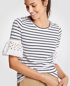 262113b8f2e78 Shop Ann Taylor for effortless style and everyday elegance. Our Stripe Eyelet  Flare Sleeve Top