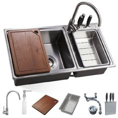 Bathkitchen Bk8801d 32-1/2-Inch 18-Gauge Stainless Steel Topmount Drop in Double Bowl Kitchen Sink Free Mixer Tap, hardwood cutting board, cutter set, grid, Strainer, soap dispenser